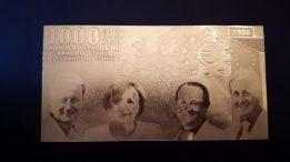 Billet  de 1000€ à l'effigie de Dirigeant Européen (reproduction papier dorée)